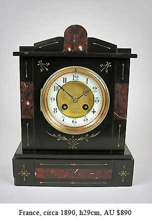 french inlaid mantel clock